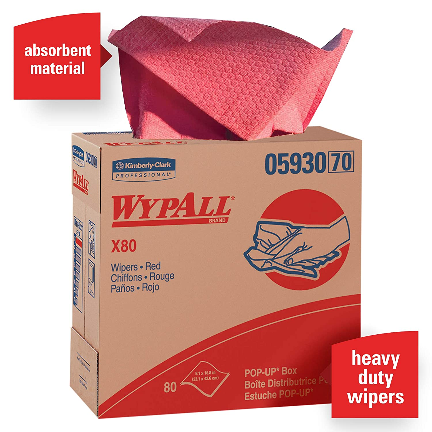 Wypall X80 Reusable Wipes (05930), Extended Use Cloths, Red, 80 Sheets / Pop-Up Box; 5 Boxes / Case