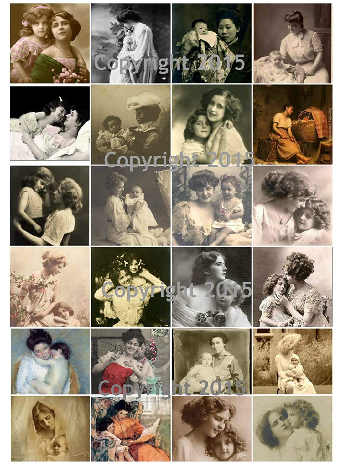 Mother and Child Art Image Tiles Collage Sheet. Mother's Day #102 Paper Moon Media