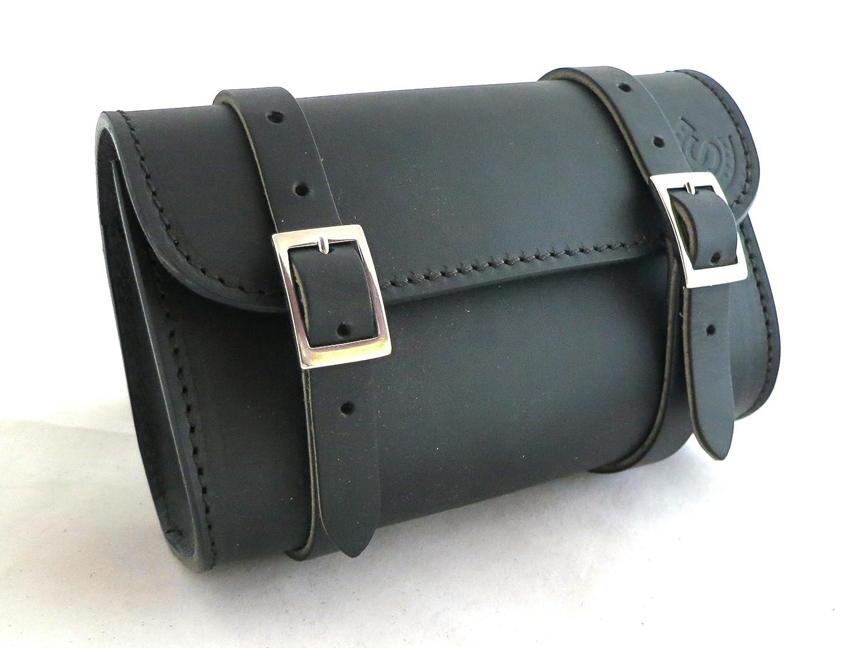 Custom Style - BA175 - Sacoche cavaliè re artisanale pour moto, en cuir, petite taille noir