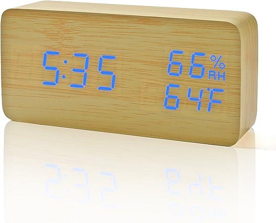 FIBISONIC Horloge Digitale Réveil Matin Alarm Clock Horloge Bois Réveil LED avec Affichage Numérique de TempératureHumiditéCalendrier, Réveil