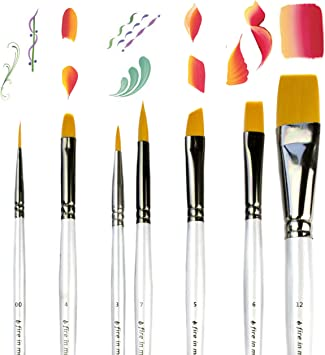 Art Paint Brushes For Acrylic Painting Watercolor Oil Gouache Body And Face Paint Brushes For Adults Kids Best Artist Paint Brush Set Of 7 Pcs