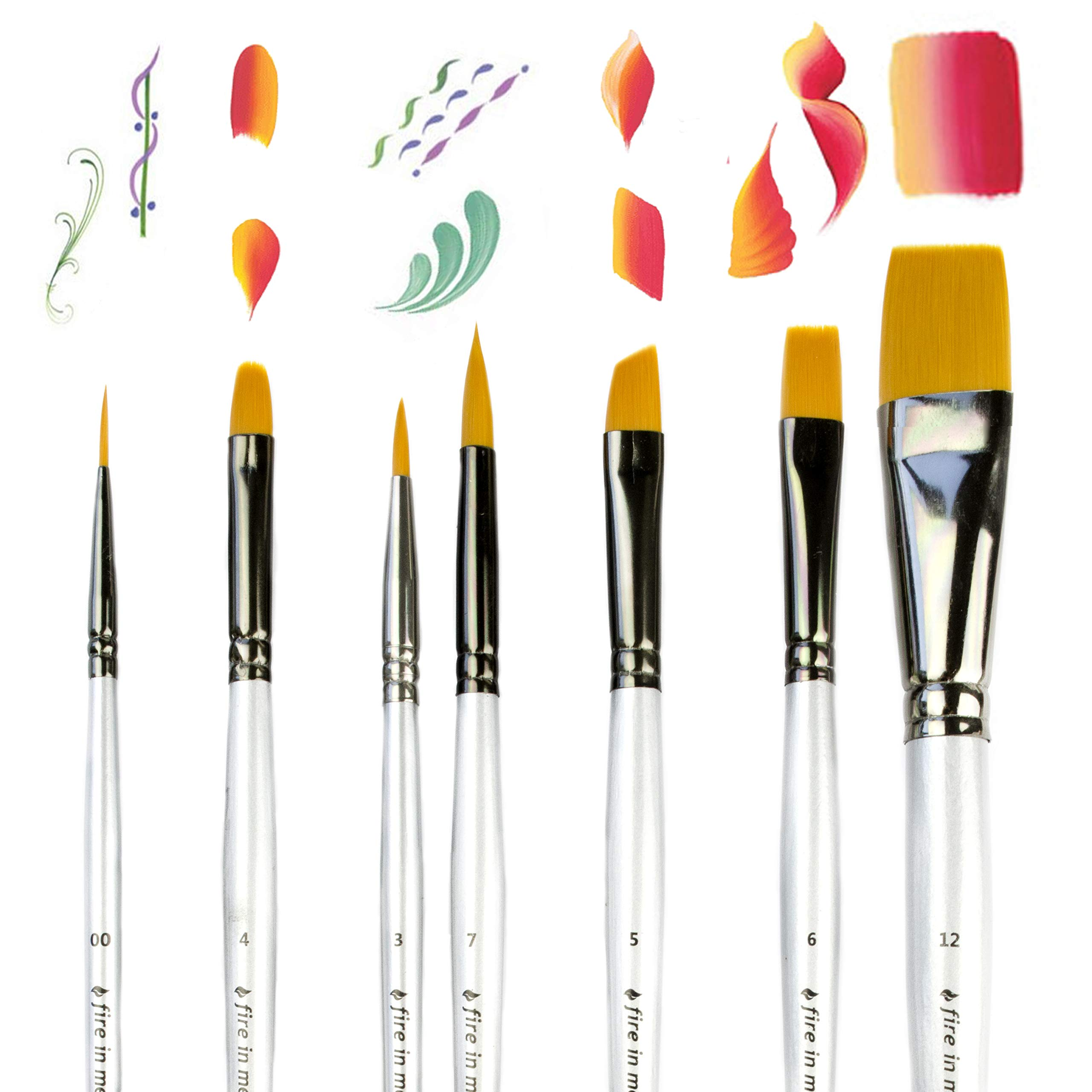 Art Paint Brushes for Acrylic Painting Watercolor Oil Gouache - Body and Face Paint Brushes for Adults Kids. Best Artist Paint Brush Set of 7 pcs, Acrylic Paint Brushes for Painting, Artist Brushes by fire in me