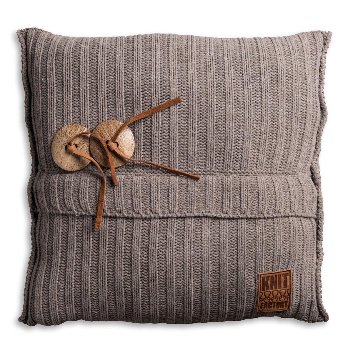 Knit Factory 1101229 Dekokissen Strickkissen Aran mit Füllung, Füllung, Füllung, 50 x 50 cm, Taupe d2f7a0