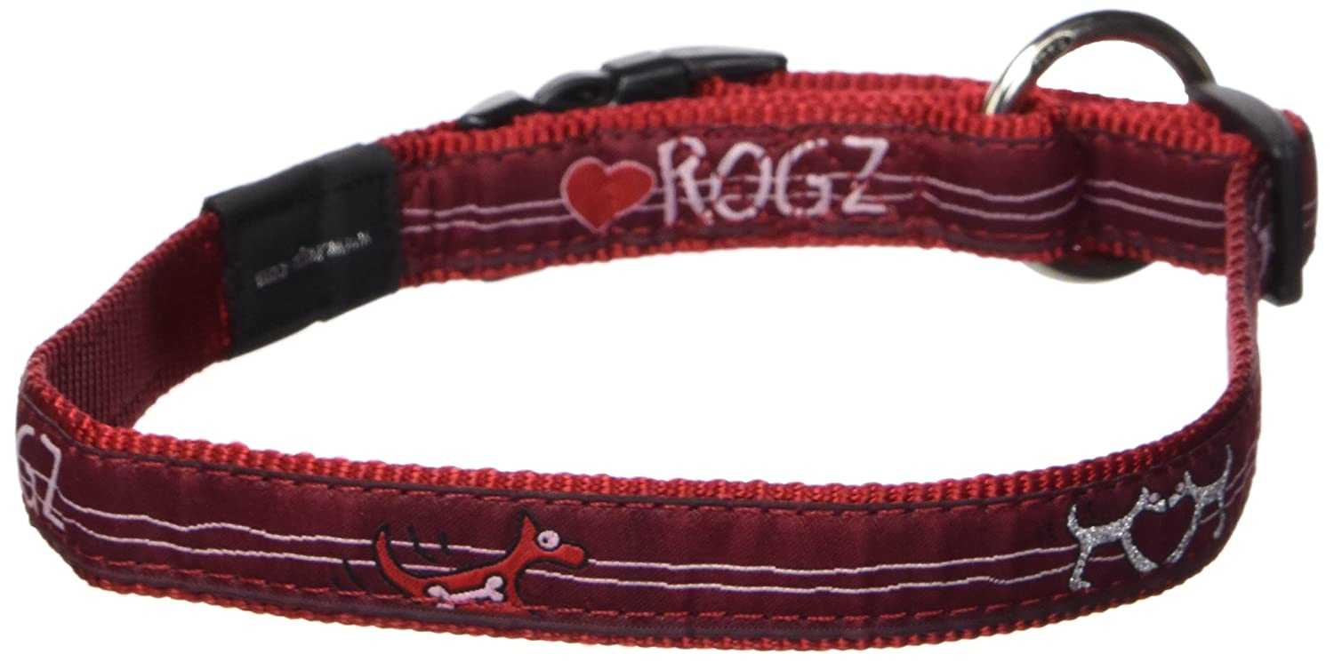 Rogz Fancy Dress Large 3 4 Beach Bum Side-Release Fashion Dog Collar Red Heart Design
