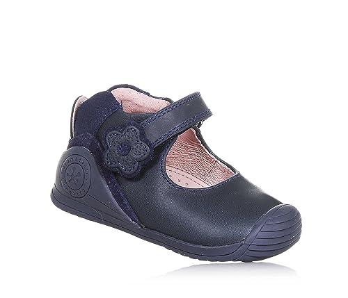BIOMECANICS - Bailarina azul de cuero, ideal para el gateo y el primer paso, hecho de materiales ligeros, Niña, Niñas-18: Amazon.es: Zapatos y complementos