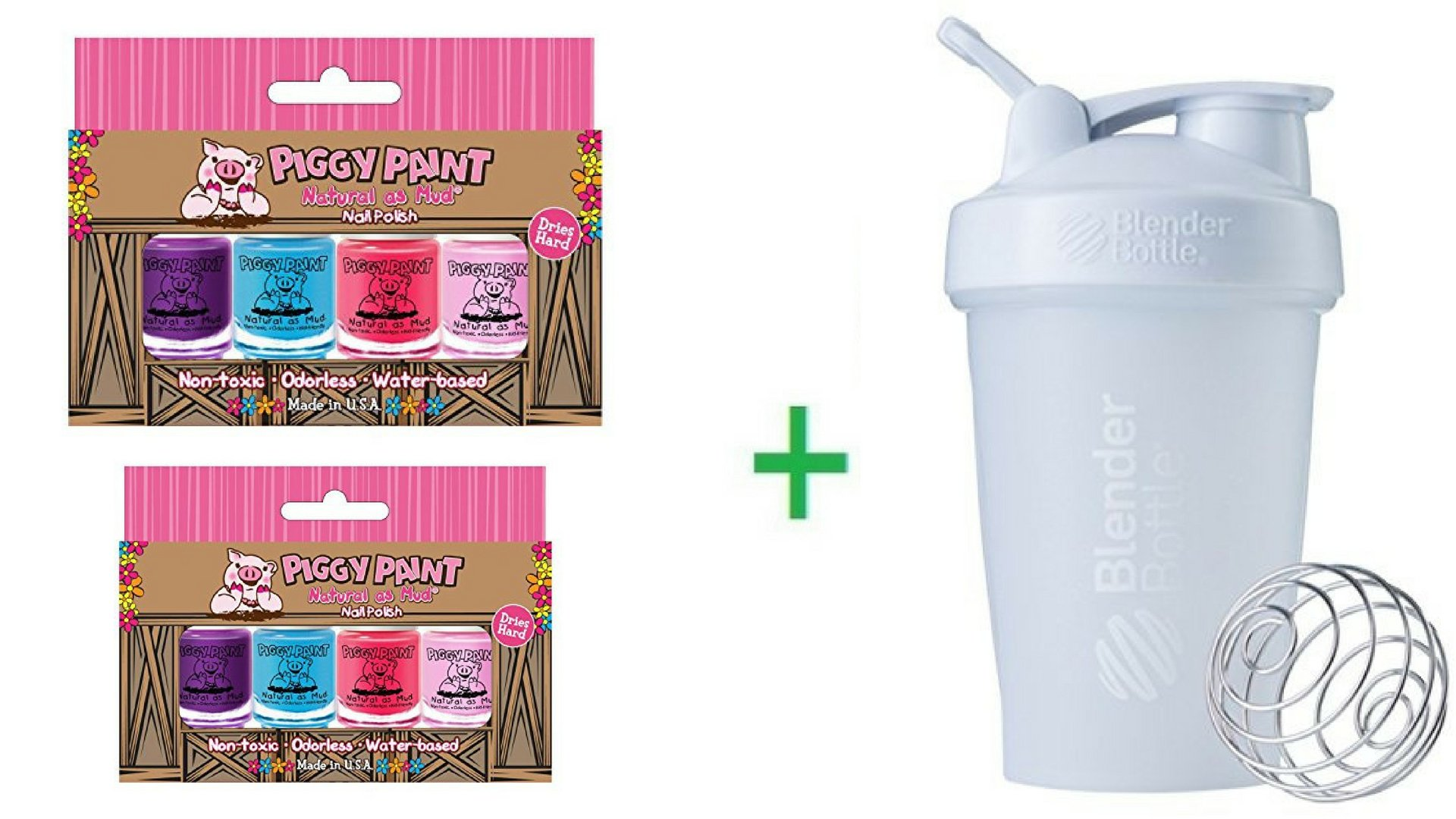 Piggy Paint, Natural as Mud, Nail Polish, 4 Piece Set (3.5 ml) Each (2 Packs) + Sundesa, BlenderBottle, Classic With Loop, White, 20 oz