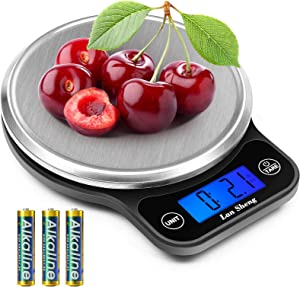 Lansheng Food Scale, 13lb/6kg Digital Kitchen Scale Weight Grams and oz for Cooking, Baking, and Weight Loss, with 1g/0.04oz Precise Graduation,Easy Clean Stainless Steel (Includes Batteries)