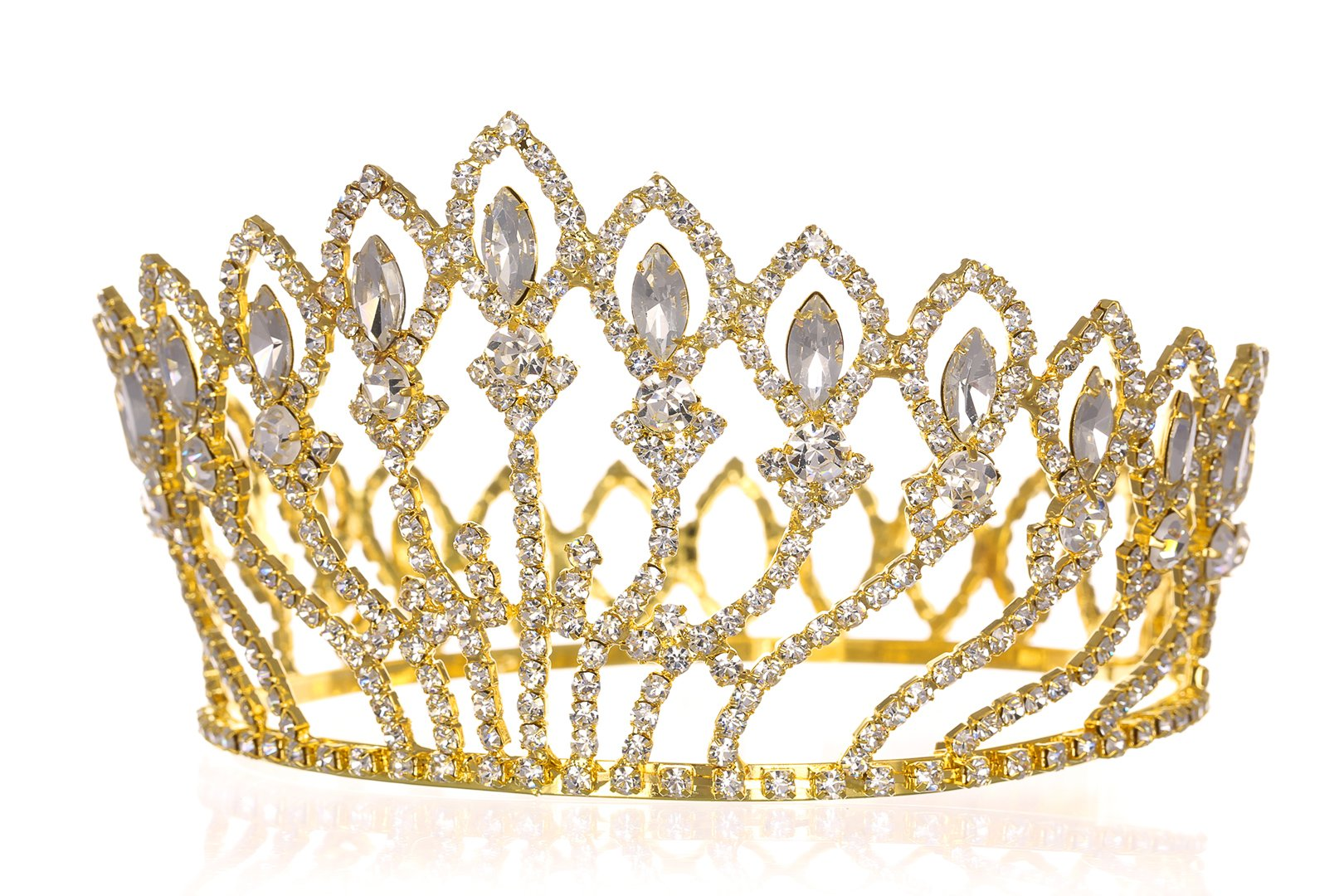 Pageant Beauty Contest Bridal Wedding Full Crown - Gold Plated Clear Crystals T1184 by SAMKY