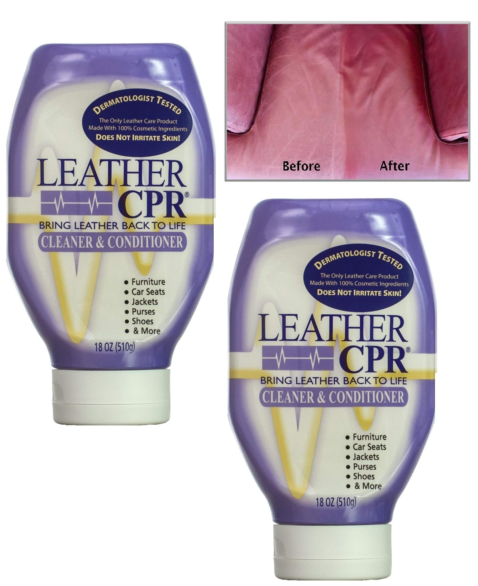 Leather CPR Cleaner & Conditioner By CPR Cleaning Products (Value 2-Pack of 18oz Bottles) Restores & Protects Leather Furniture, Purses, Car Seats, Jackets & More by CPR CLEANING PRODUCTS
