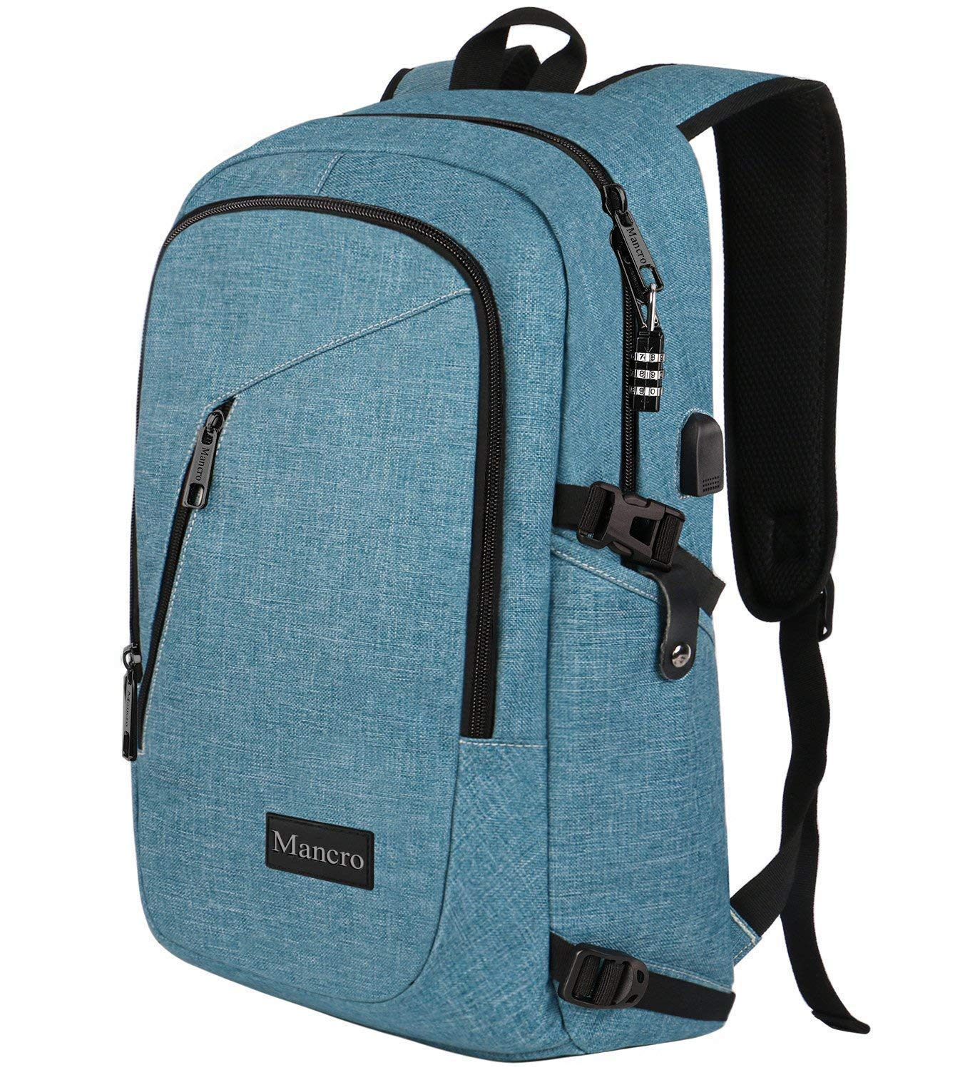 School Backpack for Women, Anti Theft College Student Backpack with USB Port, Slim Lightweight Laptop Backpack, Water Resistant Sturdy Carry On Rucksack for Work Campus Fit 15.6'' Computer (Crest Blue) by Mancro