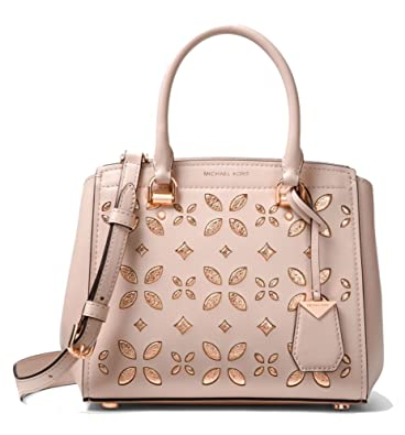 4e3089a701c9 Image Unavailable. Image not available for. Color: MICHAEL Michael Kors  Benning Medium Perforated Leather Satchel Bag, Soft Pink