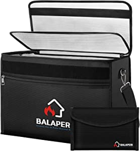 """BALAPERI File Storage Bag, 17"""" x 12"""" x 5.8"""" Large Fireproof Document Bag with Money Bag, Fireproof & Water Resistant Important Document Organizer with Shoulder Strap, Multi-Layer File Organizer Bags"""