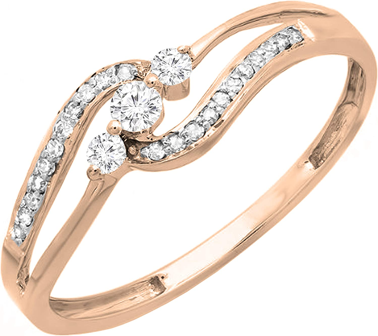 Dazzlingrock Collection 0.20 Carat (ctw) Round White Diamond Ladies 3 stone Engagement Bridal Promise Ring 1/5 CT, 10K Gold