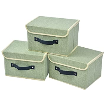 3 Pack Small Linen Storage Box With Lid And Handle Foldable Closet  Organizer Clothes Bag