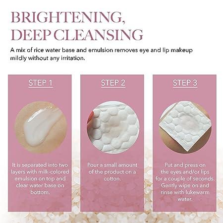 THEFACESHOP Oil-Free Liquid Eye Makeup Remover, Natural Rice Water Lipstick, Waterproof Mascara Eyeliner Removal – 120 mL 4 Oz