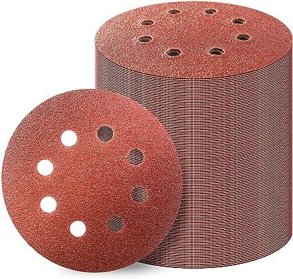 """5/"""" 8 Hole 60 Grit Sanding Disc Random Orbital Orbit Hook /& Loop Sandpaper"""