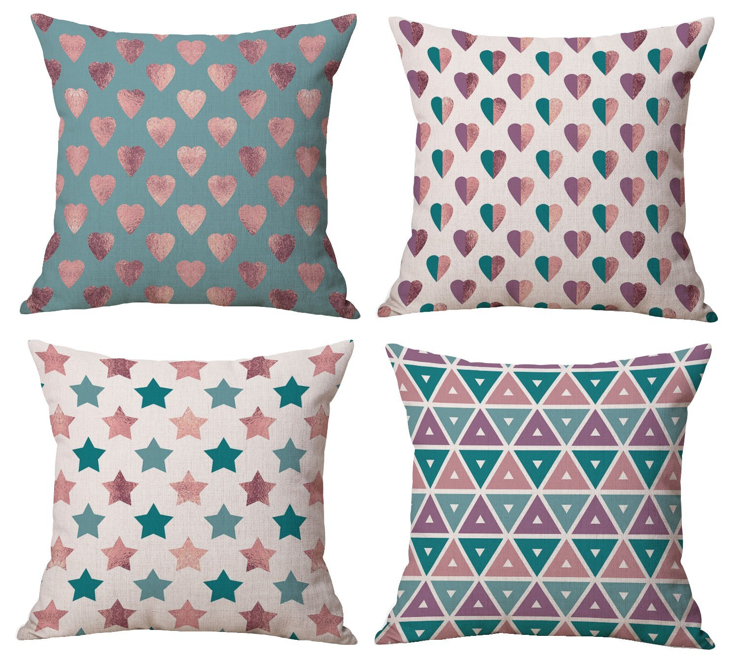 BLUETTEK New Decorative Throw Pillow Covers Set Of 4 18 x 18 Inches, Purple-Teal-Rose-Gold Heart-Stars-Triangles Shining Burlap Toss Pillow Case for Living Room, Couch and Bed