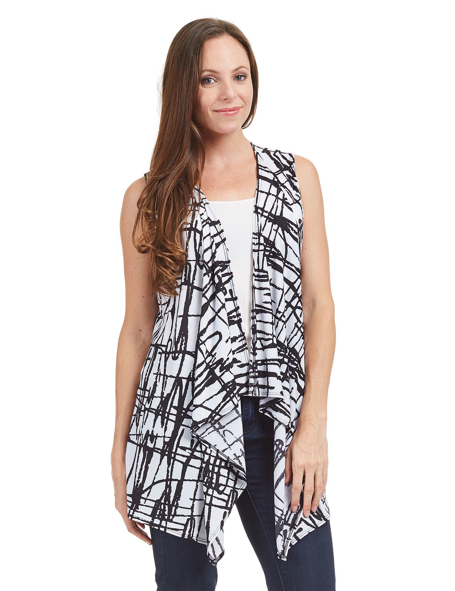 Womens WSK1350 Lightweight Print Draped Sleeveless Cardigan XL CRAYON_BLACK