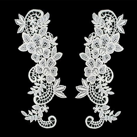 Floral Lace Motif Red Guipure Lace Applique Bridal Dress Embroidery Trim 1 Pair