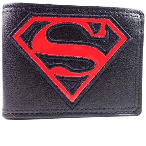 COOL dc comics logo de Superman cartera negro y rojo: Amazon ...