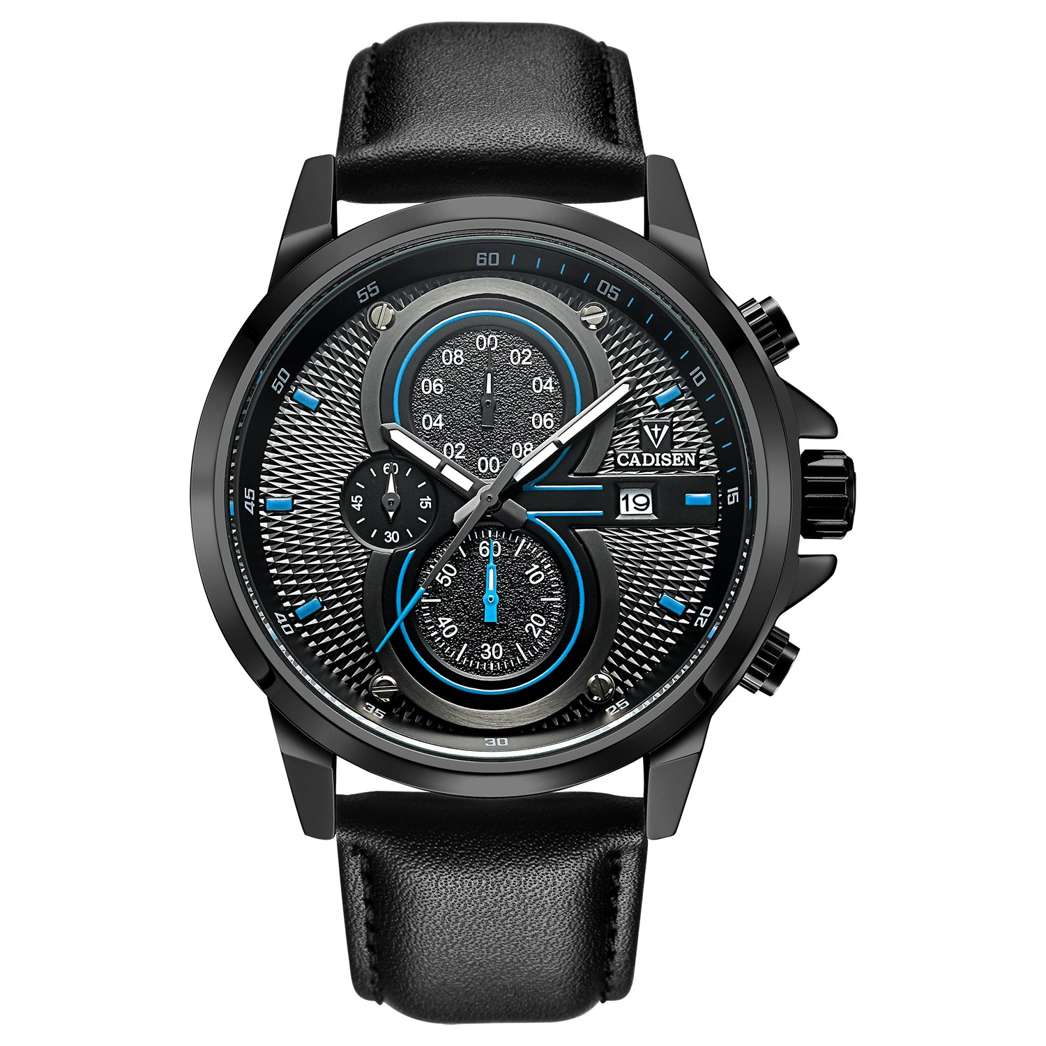 Amazon.com: CADISEN Mens Watch Sport Military Chronograph Casual Waterproof Analog Quartz Watch with Stainless Steel Strap (C9054L-BLUE): Watches