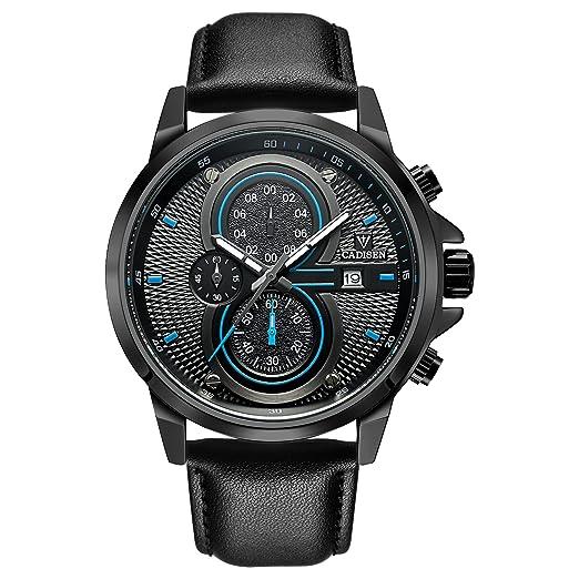 fac997635 cadisen Hombres del Deporte Militar reloj cronógrafo Casual resistente al  agua analógico reloj de cuarzo con correa de acero inoxidable: Amazon.es:  Relojes