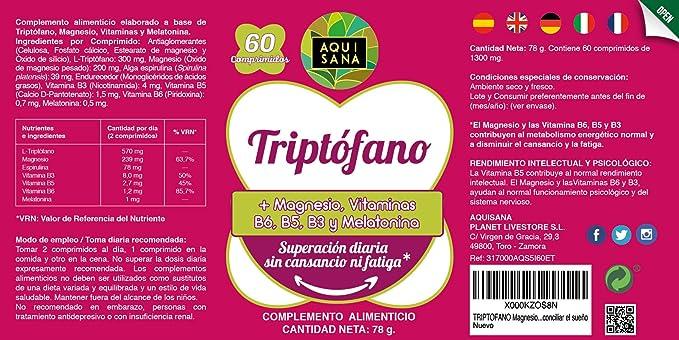 L-Triptófano con Magnesio + Vitamina B6,B5, B3 + Melatonina | Mejora la calidad del sueño, Refuerza el sistema inmunológico y Ayuda a Disminuir el ...