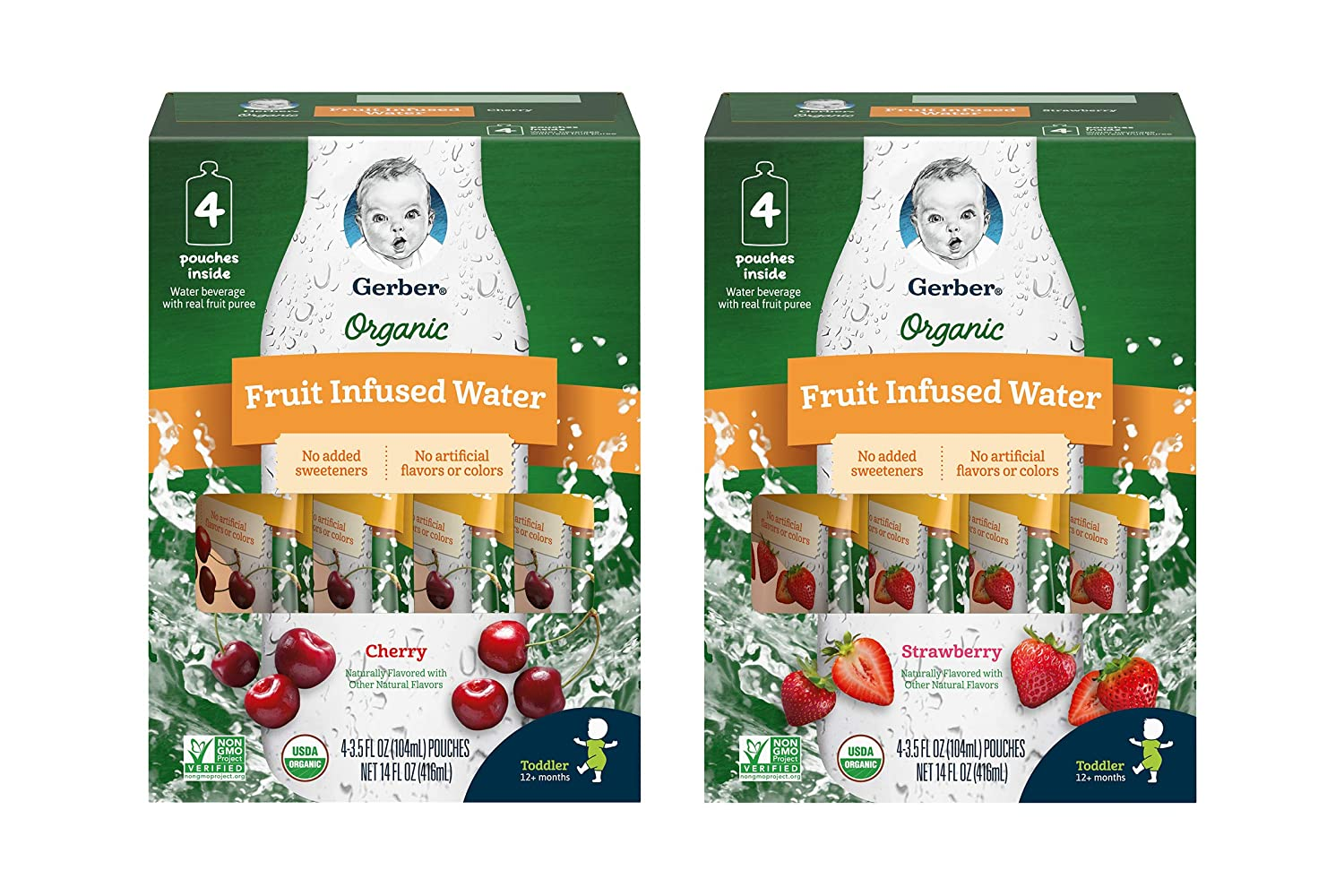 Gerber 1st Foods Gerber Organic Fruit Infused Water Variety Pack - 1 Box Cherry, 1 Box Strawberry - No Added Sweeteners, No Artificial Flavors or Colors - 4 ct/Box (Pack Of 2 Boxes), 2Count