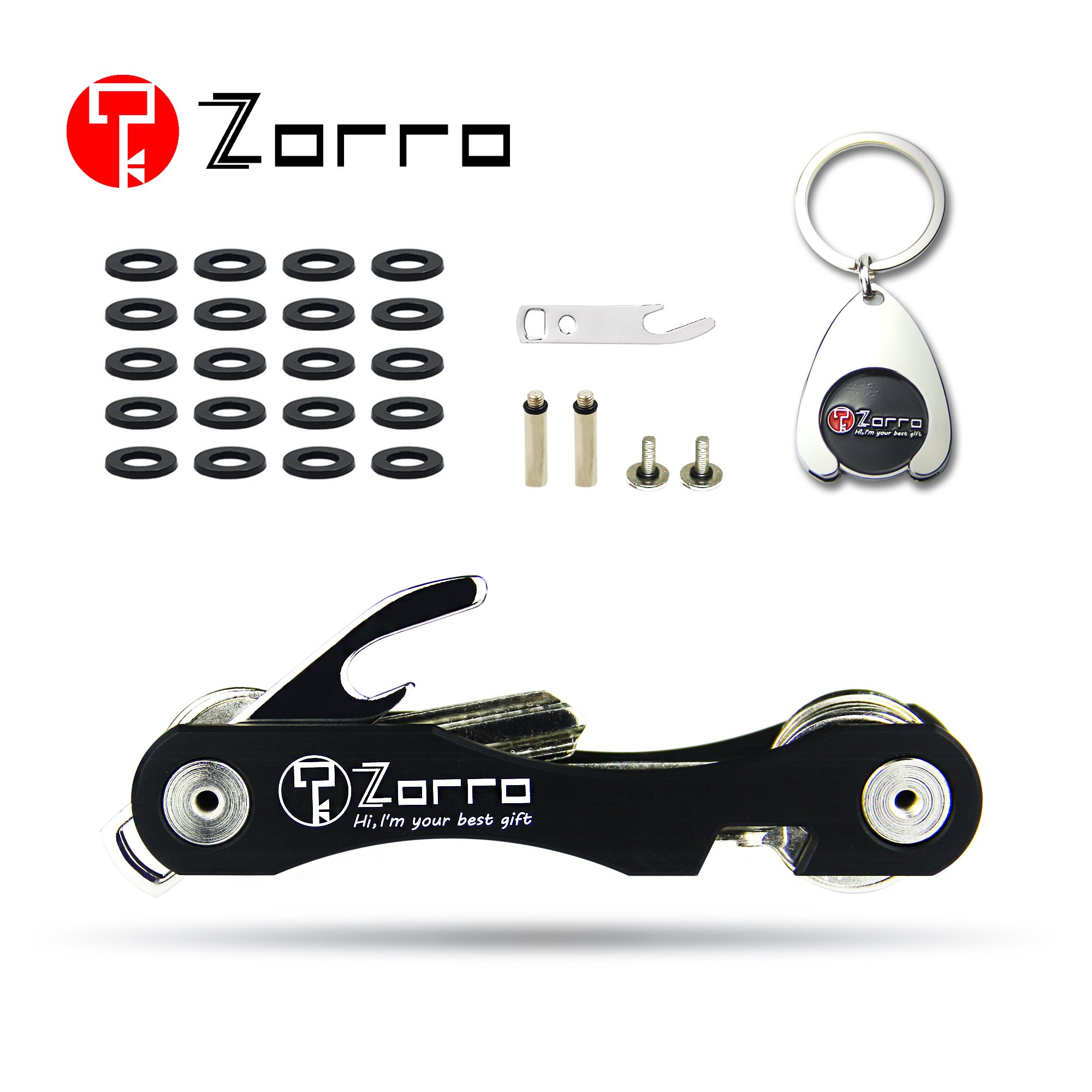 Zorro Smart Compact Key Holder Keychain - Smart Pocket Organizer Up To 18 Keys -Includes Bottle Opener,Carbiner,Phone Stand(Black)