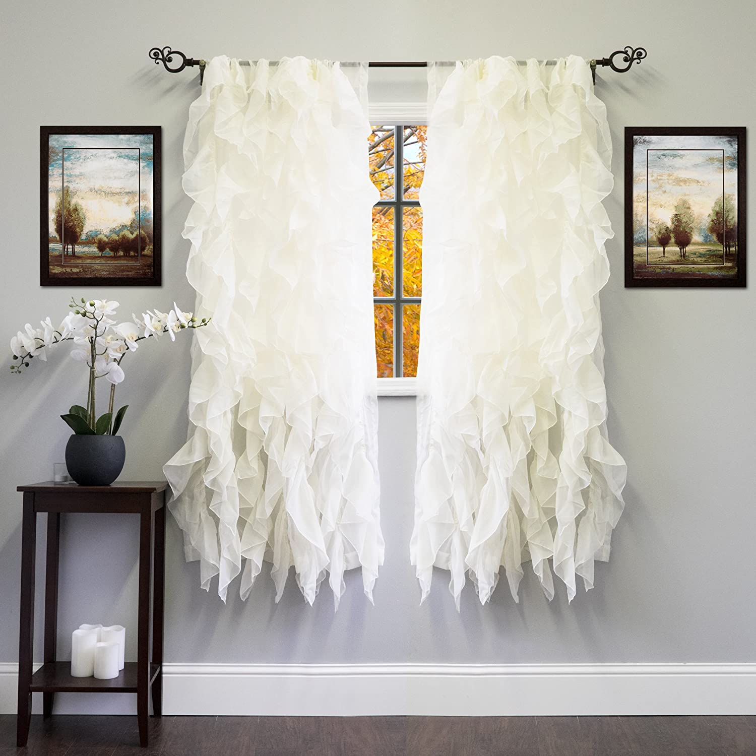 63 x 50 Camel Sweet Home Collection 2 Pack Window Panel Sheer Voile Vertical Ruffled Waterfall Curtains