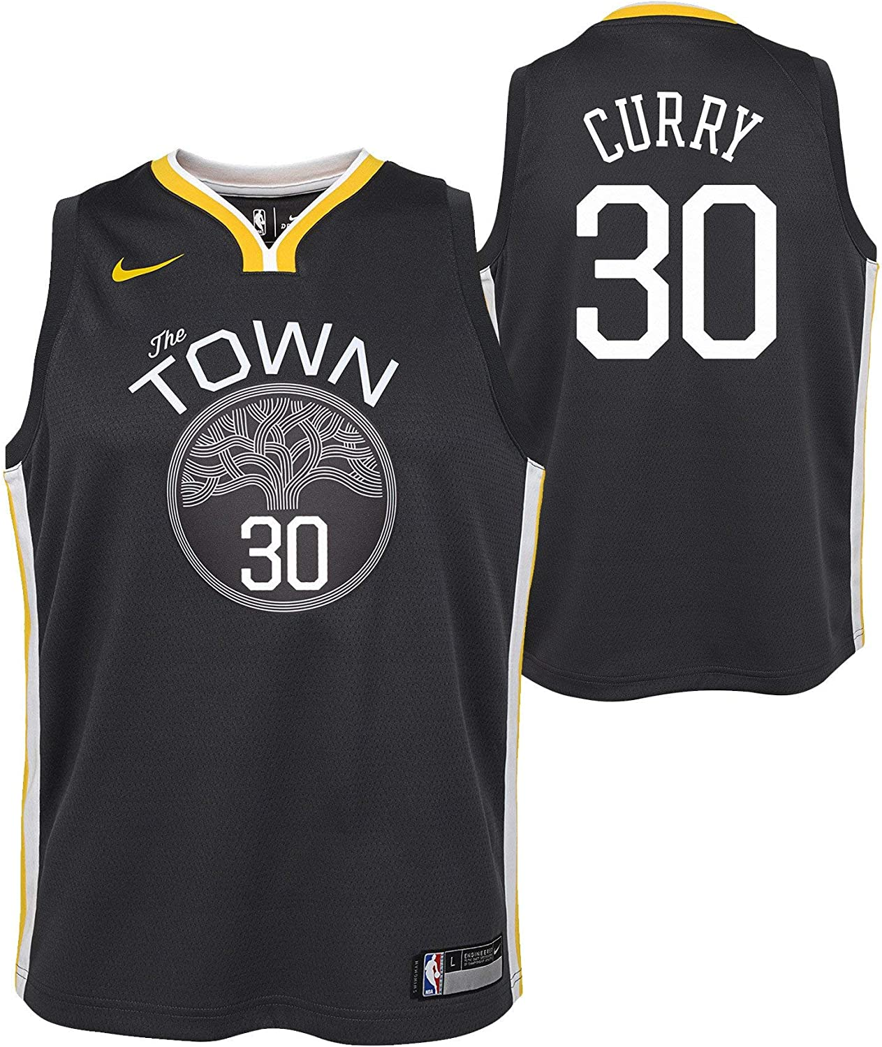 Nike Stephen Curry Golden State Warriors NBA Youth 8-20 The Town Statement Edition Black Alternate Swingman Jersey