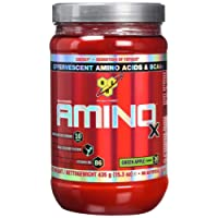 BSN Amino X Muscle Support Powder Supplement with Vitamin D, Vitamin A & Amino Acids. BCAA powder by BSN - Green Apple, 30 Servings, 435g