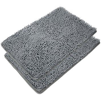 Captivating VDOMUS Absorbent Microfiber Bath Mat Soft Shaggy Bathroom Mats Shower Rugs    2 Pieces (Gray