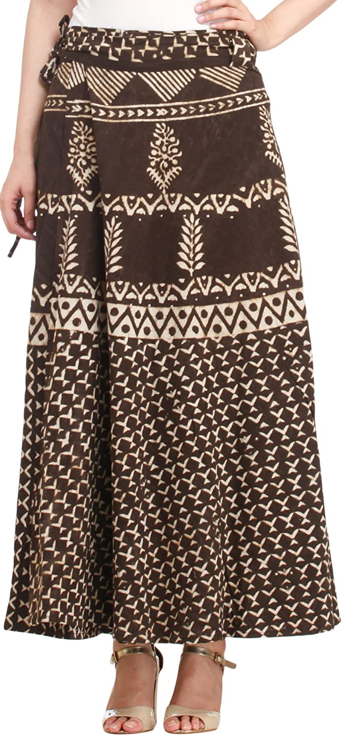 Exotic India Coffee-Bean Wrap-Around Long Skirt from Pilkhuwa with Bagdo - Brown