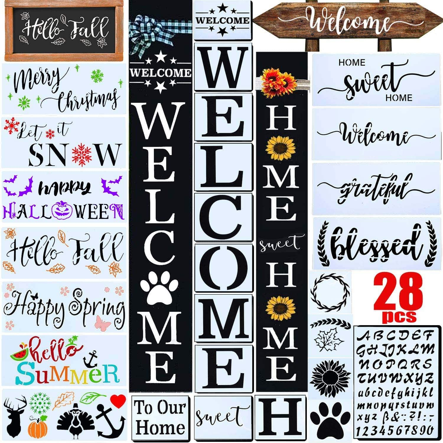 28 PCS Welcome Stencil for Painting on Wood,Home Sign Stencils Reusable Porch Sign and Front Door Vertical Welcome Comes with Stencil-Sunflower,Dog Paw Stencil and orther Pattern (Style 1)