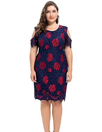 f867f2535e Chicwe Women s Plus Size Lined Floral Printed Off Shoulder Lace Dress - Knee  Length Casual Party
