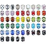 Luxbon Lot de 50 Perles en Verre de Murano Montées sur un Anneau d'argent Compatibles avec les Bracelets de Style Européens faire des bracelets Bijoux DIY