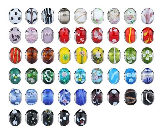 4 opinioni per 50pc partita argento, in vetro di Murano, con perline europea, per braccialetto