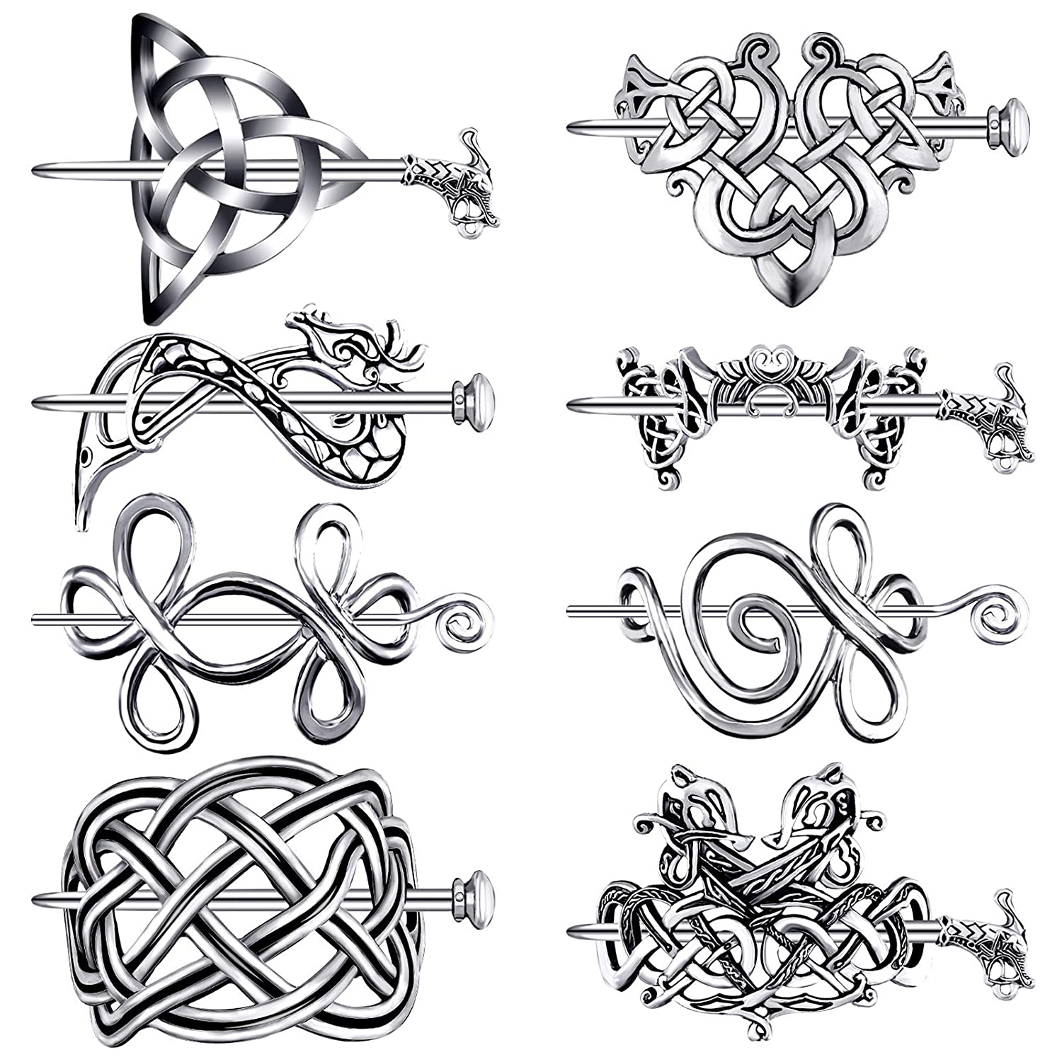 8 Pieces Celtic Hair Slide Hairpins Hair Accessories Celtic Knot 8 Styles Hair Clips Vintage Metal Hair Accessories Creative Minimalist Metal Hair Pin for Women