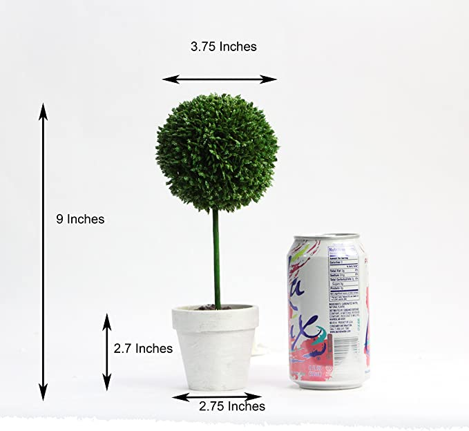Amazon Com Admired By Nature 9 H Artificial Boxwood Ball Topiary Plant Tabletop Set Of 3 Home Kitchen