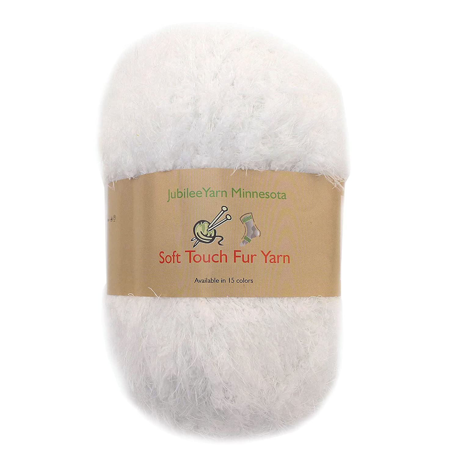 JubileeYarn 100g Soft Touch Fuzzy Fur Yarn, White 2 Skeins