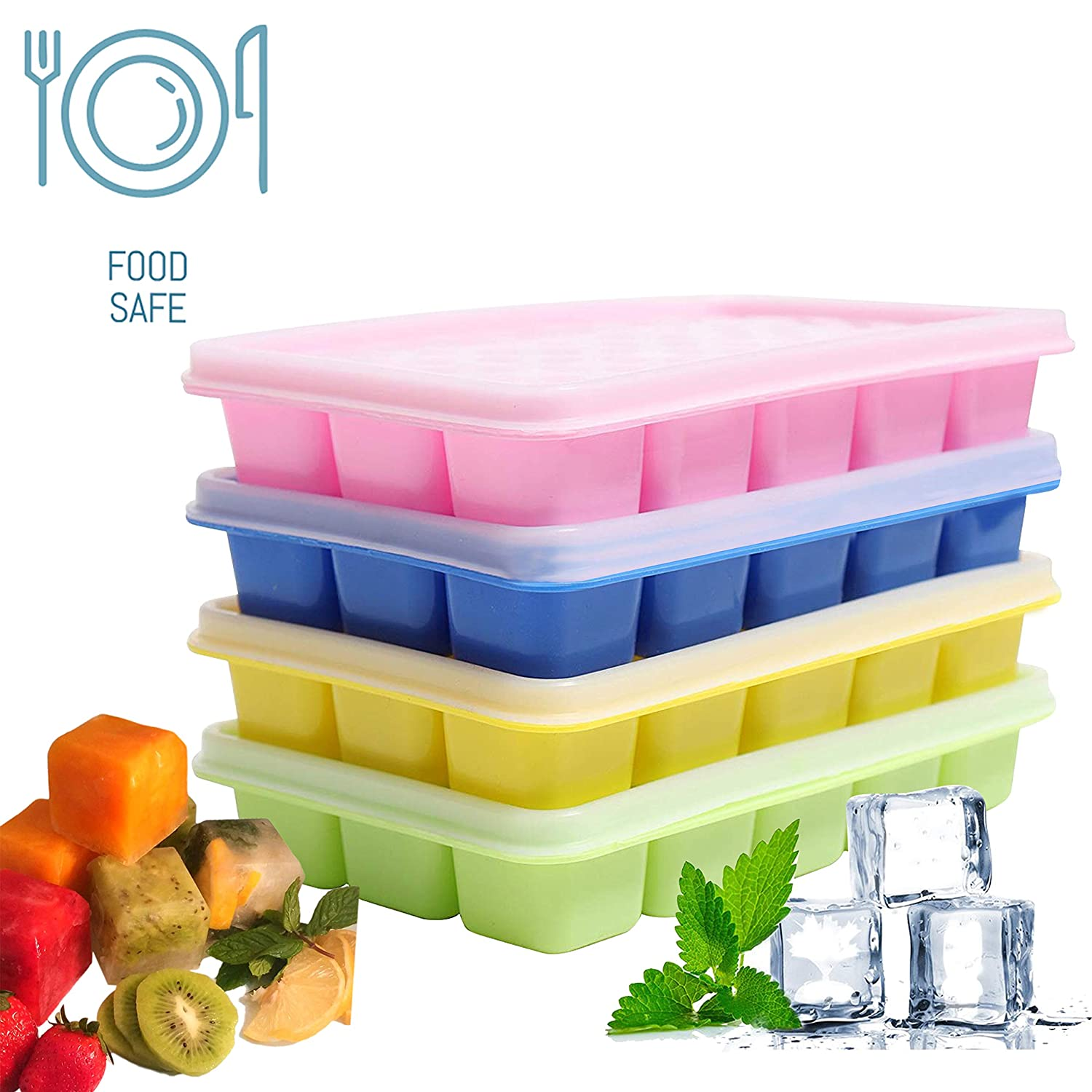 3300c4861 Ice Cube Trays with Clear Lids (4 pcs) - Flexible Silicone BPA Free Covered  Ice Cube Tray Set with 60 Molds - Stackable Easy Release Ice Cube Moulds ...