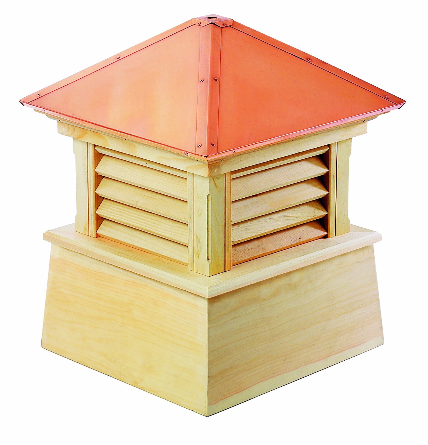 Good Directions Manchester Louvered Cupola with Pure Copper Roof, Cypress Wood, 18'' x 22'', Quick Ship, Reinforced Rafters and Louvers, Cupolas by Good Directions