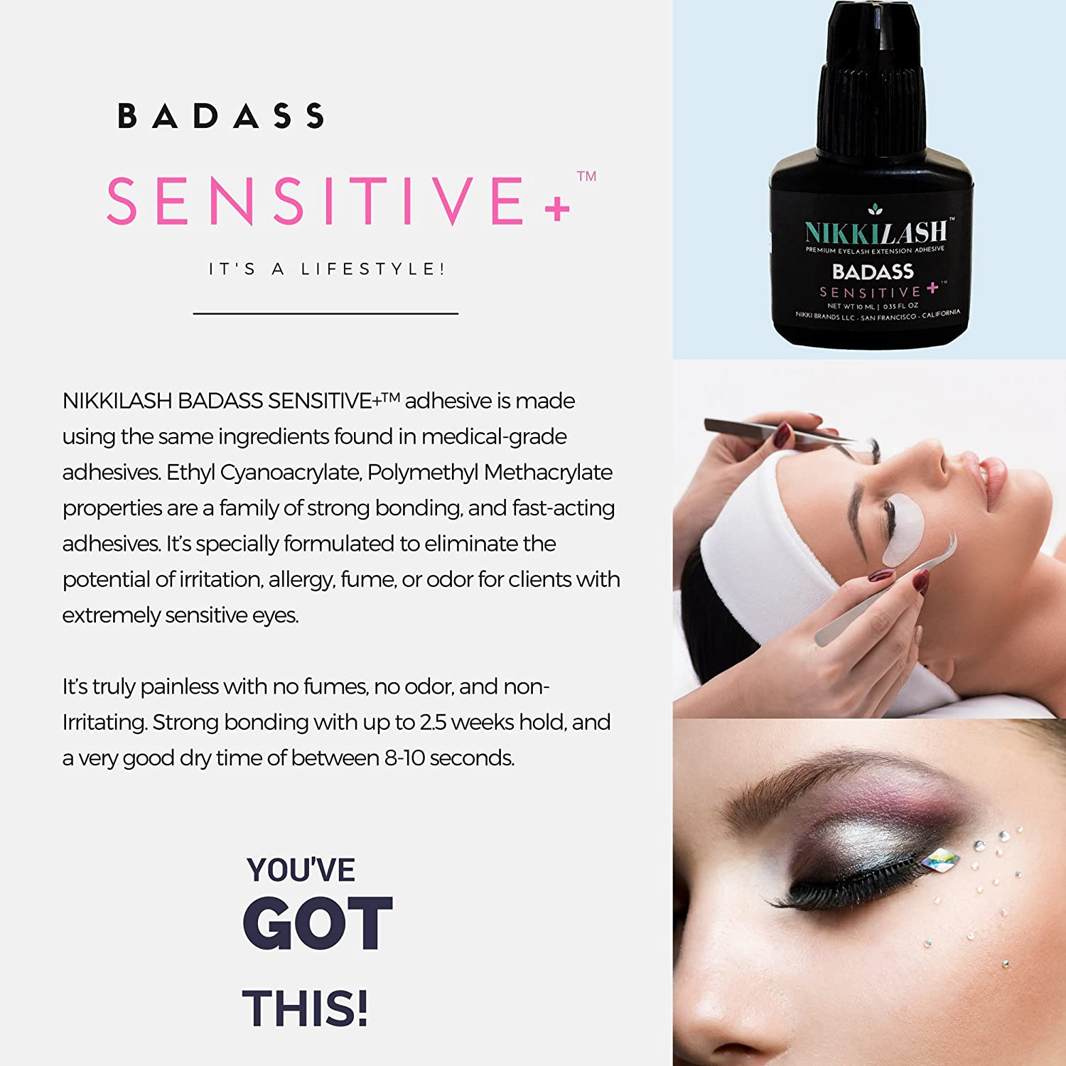 de6c72c680b Amazon.com : NIKKILASH BADASS SENSITIVE+ Eyelash Extension Glue |  Latex-free For Extreme Sensitive Allergy Clients - Formulated to Increase  Durability and ...