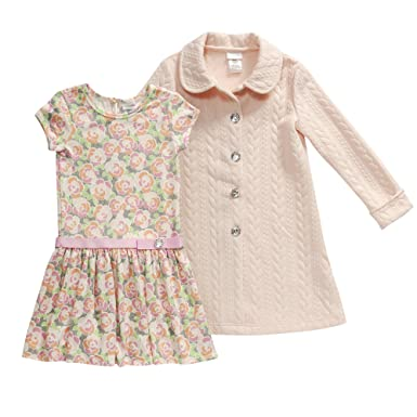a65aae513 Amazon.com: Sweet Heart Rose Little Girls' Toddler 2 Pc Set: Coat Set with  Knit Floral Dropwaist Dress, Coral/Multi, 3T: Clothing
