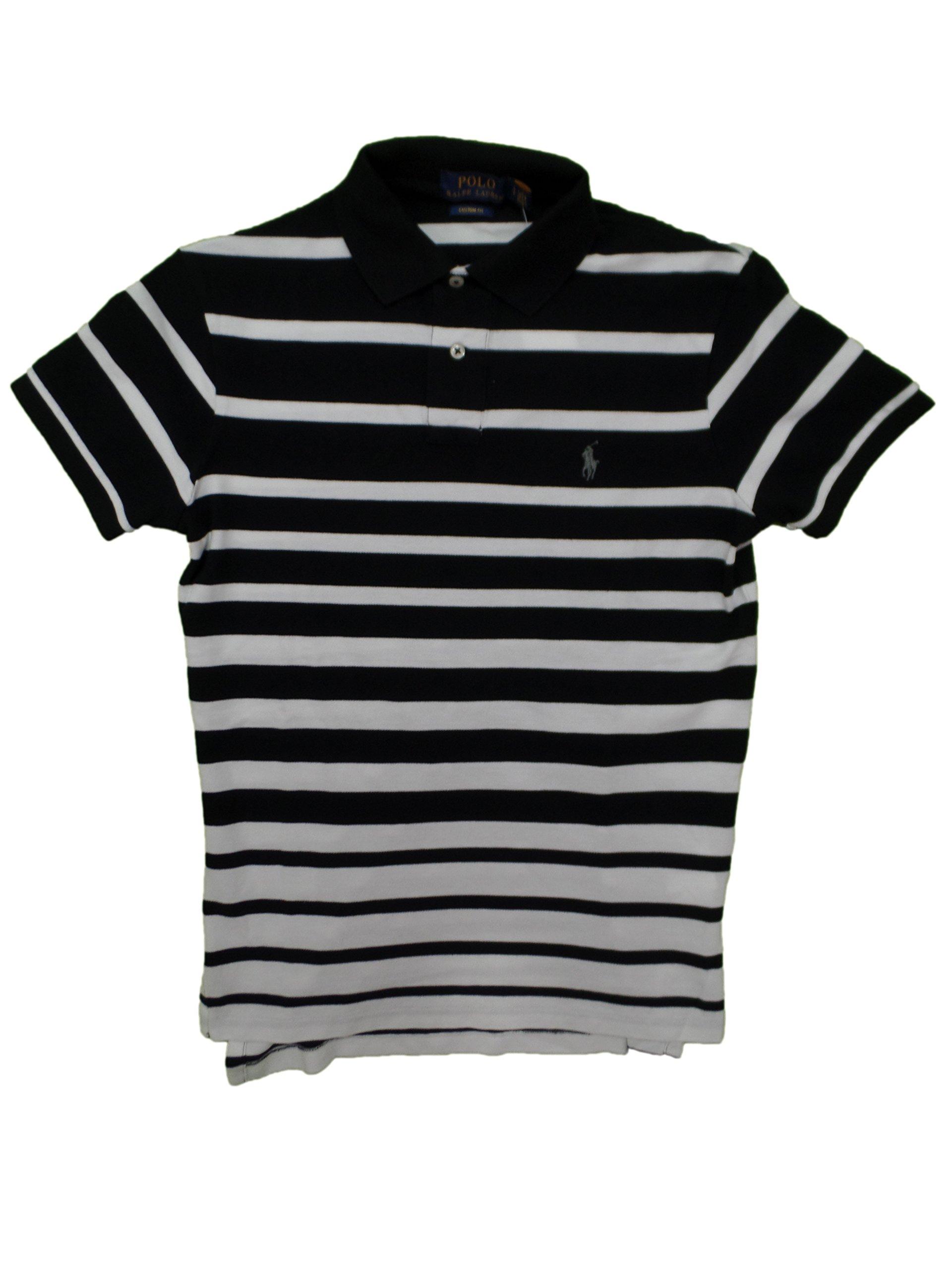 b44aee09b Galleon - Polo Ralph Lauren Men's Striped Polo Shirt Custom Fit (S, Polo  Black)
