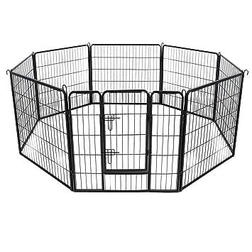 FEANDREA Jaula Valla para Perros, Corral Plegable para Cachorros, Conejos y Otras Mascotas Negro 80 x 80 cm PPK88H: Amazon.es: Productos para mascotas