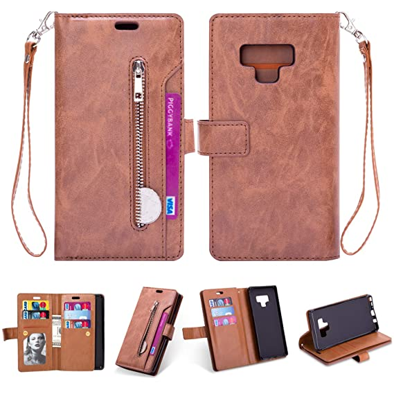 efddaaac06a0 Samsung Note 9 Case,Galaxy Note 9 Wallet Case,FLYEE 10 Card Slots Premium  Flip Wallet Leather Magnetic Case Purse with Zipper Coin Credit Card Holder  ...