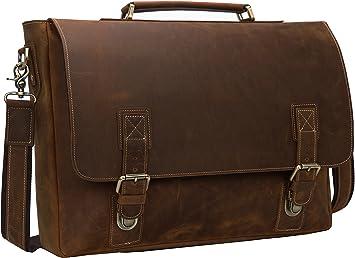 Briefcase laptop bags Vintage Men/'s Crazy Horse Leather shoulder Messenger bag