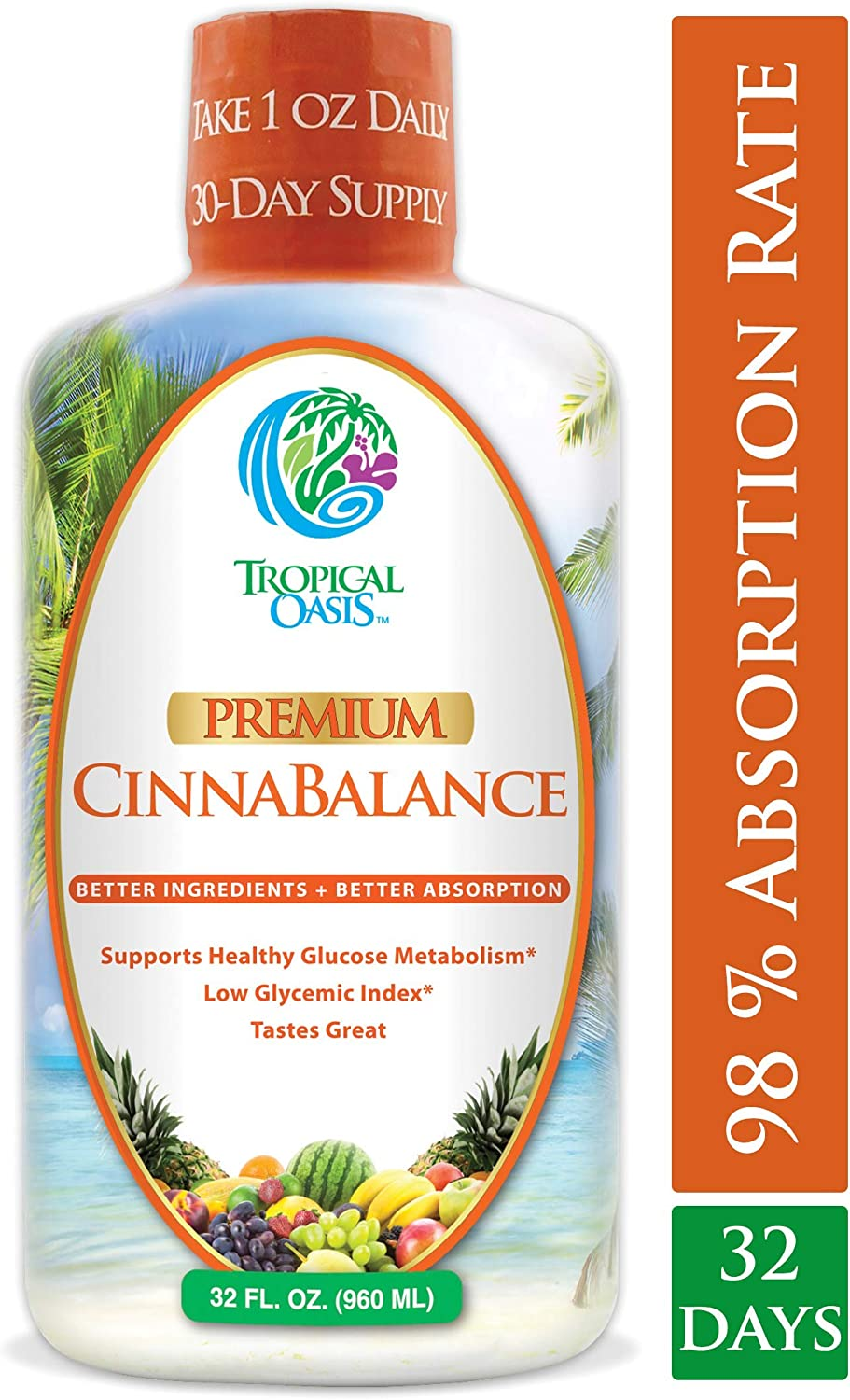 Cinnabalance Liquid Cinnamon Supplement w Cinnamon Bark, Aloe Vera, Ginger Root, Green Tea Antioxidants – Promotes healthy blood sugar support glucose levels – 32 oz, 32 servings